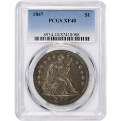 1847 $1. Seated Liberty Dollar. PCGS XF40.