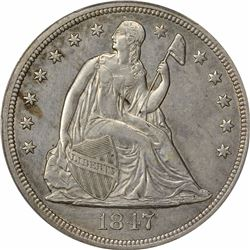 1847 $1. Seated Liberty Dollar. PCGS AU Details.