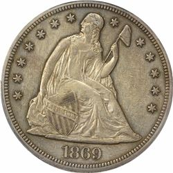 1869 $1. Seated Liberty. PCGS AU Details.