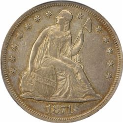 1871 $1. Seated Liberty Dollar. PCGS XF Details.