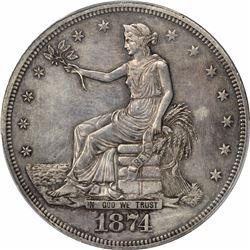 1874 T$1. Trade Dollar. PCGS AU53.