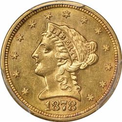 1878-S $2.50. Liberty Head Quarter Eagle. PCGS AU58.