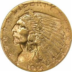 1914-D $2.50. Indian Head Quarter Eagle. PCGS AU58.