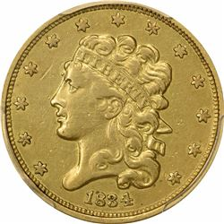 1834 $5. Liberty Head Half Eagle. PCGS XF Details.