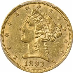 1893-O $5. Liberty Head Half Eagle. PCGS AU55.