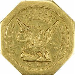 1851 Augustus Humbert $50. Kagin-4. 887 THOUS. 50 Reverse. Octagonal. Lettered Edge. Rarity-5+. AU-5