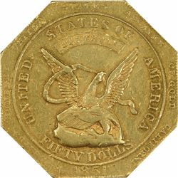 1851 Augustus Humbert $50 Kagin-6 887 THOUS Target Rev Octagonal. Reeded Edge Rarity-4 AU-58 NGC CAC