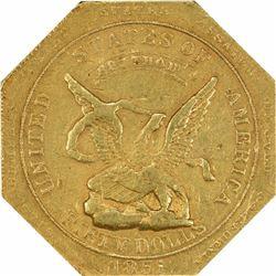 1851 Augustus Humbert $50. Kagin-7. 887 THOUS. Target Reverse. Octagonal. Reeded Edge. Rarity-7. AU-