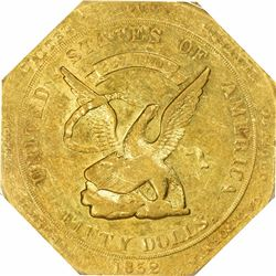 1852 Augustus Humbert $50. Kagin-11. 887 THOUS. Target Reverse. Octagonal. Reeded Edge. Rarity-5. AU