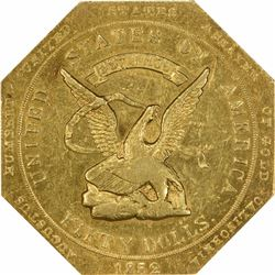 1852 Augustus Humbert $50 Kagin-13 887 THOUS Target Reverse Octagonal Reeded Edge Rarity-5 MS62 CAC