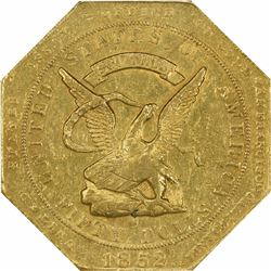 1852 United States Assay Office of Gold San Francisco $50. Kagin-14. 900 THOUS. Target Reverse. Octa
