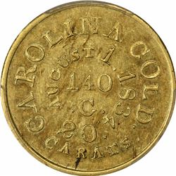 August 1, 1834. C. Bechtler $5 Gold. Kagin-17. Rarity-5. With 140 G, No Beads. Plain Edge. Carolina