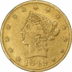 1849 Moffat & Co. $10 Gold. Kagin-5. Rarity-6+. Reeded Edge. AU-55 NGC.