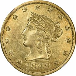 1849 Moffat & Co. $10 Gold. Kagin-6a. Rarity-5+. Reeded Edge. AU-58* NGC.