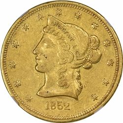 1852 Moffat & Co. $10 Gold. Kagin-8. Rarity-6. Reeded Edge. AU-55 NGC.