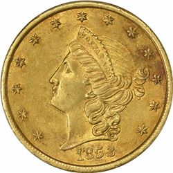 1853 Moffat & Co. $20 Gold. Kagin-19. Rarity-5+. Reeded Edge. AU-58 PCGS.