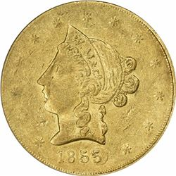1855 Wass, Molitor & Co. $10. Kagin-6. Plugged Date. Reeded Edge. Rarity-7. AU-50 PCGS Gold Foil S.S
