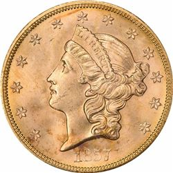 1857-S $20 Dies 20-A, Spiked Shield. MS-65 PCGS Gold Foil S.S. Central America Label. SSCA 2816.