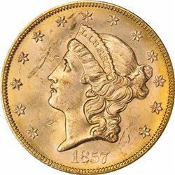 1857-S $20 Dies 20-A, Spiked Shield. MS-62 PCGS Gold Foil S.S. Central America Label. SSCA 2442.