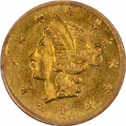 Undated Liberty Head Round $1/4 BG-204. Rarity 5. PCGS MS-63.