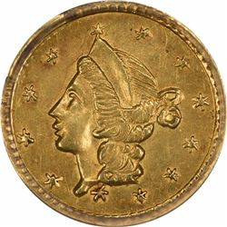 Undated Liberty Head Round $1/4 BG-205. Rarity 6. PCGS MS-61.