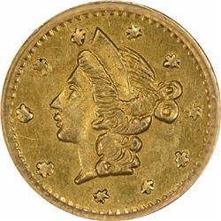 Undated Liberty Head Round $1/4 BG-206. High Rarity 4. PCGS AU-58.