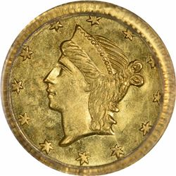Undated Liberty Head Round $1/4 BG-222. Rarity 2. PCGS MS-64 OGH.