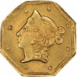 1853 Liberty Head Octagonal $1 BG-514. High Rarity 5. PCGS MS-64.