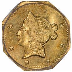 1853 Liberty Head Octagonal $1 BG-526. High Rarity 6. PCGS Genuine.