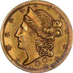 1853 Liberty Head Round $1/4 BG-218. Rarity 7. PCGS AU-58.