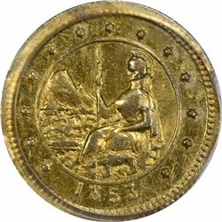 """1853 Great Seal of the State of California """"Arms of Calif."""" Round $1/2. Low Rarity 5. PCGS AU-58."""