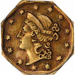 "1854 Liberty Head Octagonal $1 ""Humbert Eagle"" BG-504. Low Rarity 5. PCGS AU-55. OGH."