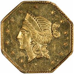 1853 Liberty Head Octagonal $1 BG-531. Rarity 4. PCGS MS-62. OGH.