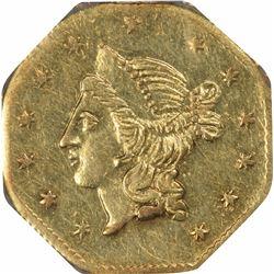 1855 Liberty Head Octagonal $1 BG-533. Low Rarity 4. NGC MS-61.