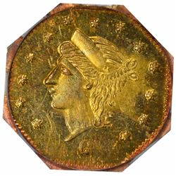 1868 Liberty Head Octagonal $1/4 BG-745. Low Rarity 6. PCGS MS-63+.
