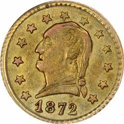 1872 Washington Head Round $1/4 BG-818. Low Rarity 4. PCGS AU-58.
