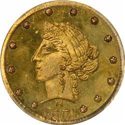 1871 Liberty Head Round $1/4 BG860. Low Rarity 6. PCGS MS-66.