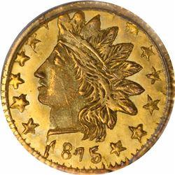 1875 Indian Head Round $1/4 BG-878. Rarity 3. PCGS MS-64.