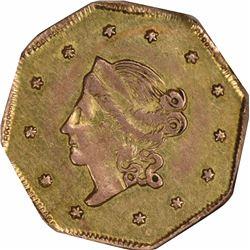 1860 Liberty Head Octagonal $1 BG-1102. Rarity 4. NGC AU-58.