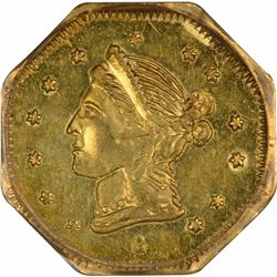 1868 Liberty Head Octagonal $1 BG-1105. High Rarity 4. PCGS MS-60.