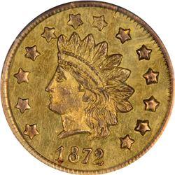 1872 Indian Head Round $1 BG-1207. Rarity 4. PCGS AU-55.