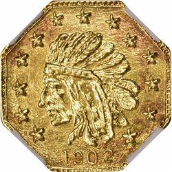 1902 Indian facing left Octagonal ¼ DWT. Rarity 5. NGC MS-66.