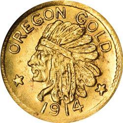 1914 Oregon ONE. Rarity 6. NGC MS-66.