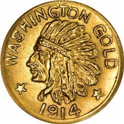 1914 Washington ONE. Rarity 6. NGC MS-66.