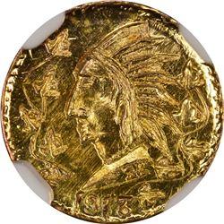 1913 British Columbia Gold Round $1/2 size token. High Rarity 6. NGC MS-67.