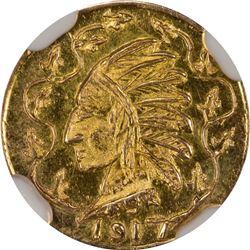 1917 British Columbia Gold Round $1/2 size token. Rarity 8. NGC MS-66.