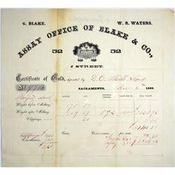 California. Sacramento. Assay Office of Blake & Co. Assay Receipt, November 6, 1860.