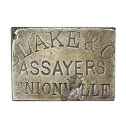 Nevada Territory. Unionville. Undated Blake and Co., Assayers Silver Ingot. No. 319. 4.15 ounces. .7