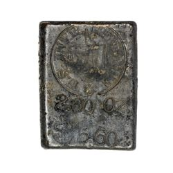 California. Sacramento. Undated H. Harris Silver Ingot. Without Serial Number. 2.60 Ounces. .950 Sil