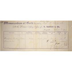 California. Marysville. Pioneer Assay Office of H. Harris & Co. Assay Receipt, April 3, 1863.